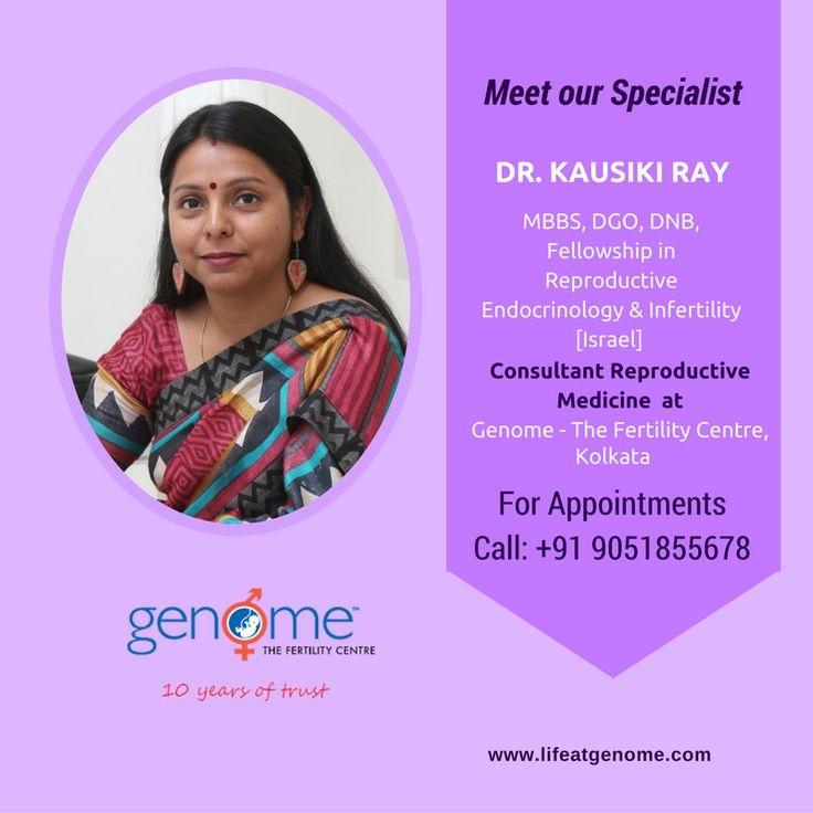 Today let us introduce you to Dr. Kausiki Ray - MBBS, DGO, DNB, Fellowship in Reproductive Endocrinology & Infertility [Israel]. She is a Consultant in Reproductive Medicine, at Genome The Fertility Centre, #Kolkata. She has the experience of managing all kinds of infertility cases successfully.  To get an Appointment Call us: +91 9051855678