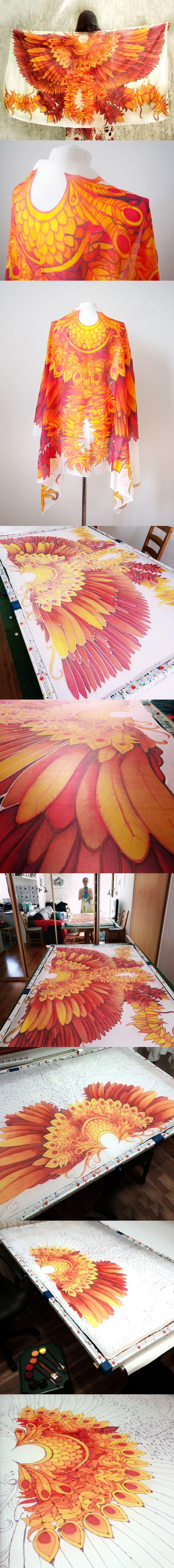 #silk #scarf #firebird #wings #wingscarf #wingsscarf #redscarf #feathers #minkulul