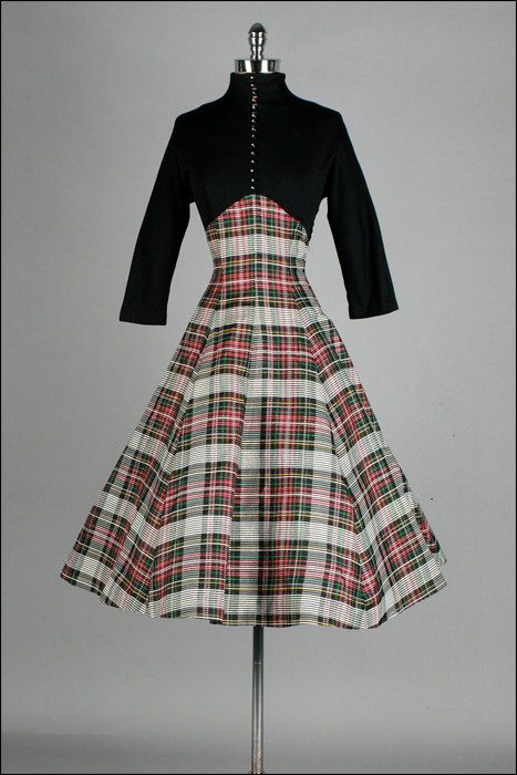 Vintage 1950s Dress . Black Wool . Plaid Taffeta  . Full Skirt . Rhinestone Buttons . M/L . 2057