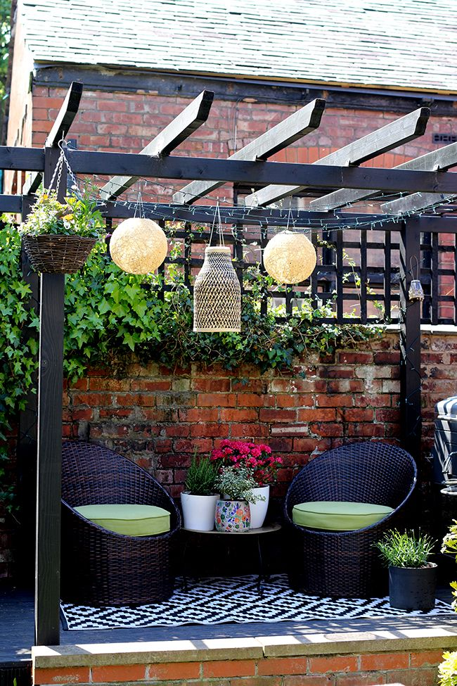 *** you could get the solar lights with the panel connected by a wire so the sensor is on top of the pergola and the light is in a handing lantern