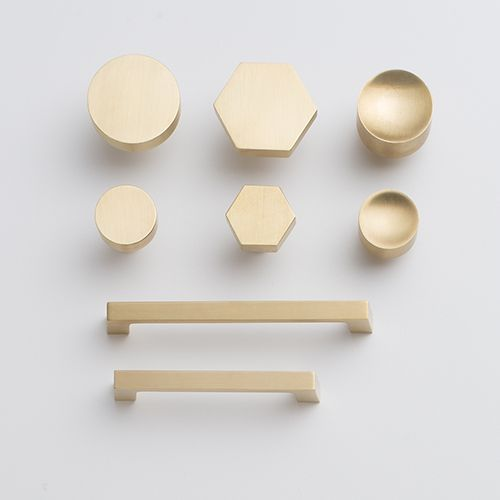 Schoolhouse Electric's Spring 2014 Collection - brass cabinet /draw knobs/pulls (hexagon for the draws)