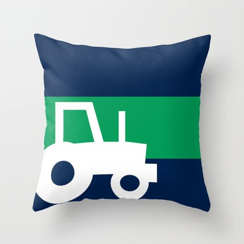 Tractor Throw Pillow Boys Room Decor Navy Green by HLBhomedesigns
