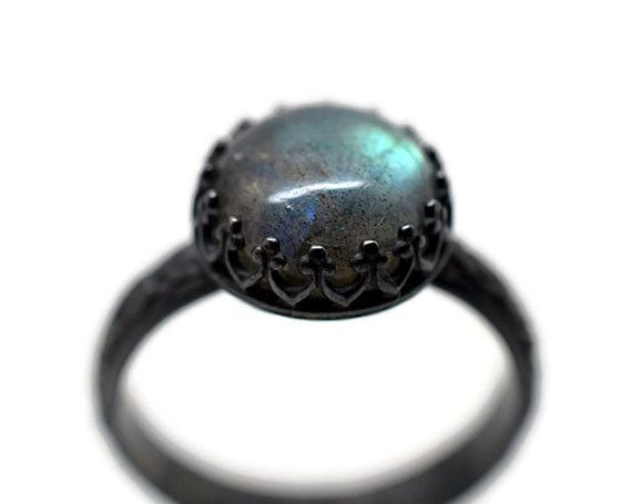 10mm Labradorite Ring, Gothic Engagement Ring, Floral Band, Oxidized Silver Ring, Blackened Silver Statement RIng