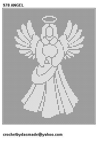 Free Crochet Angel Afghan Pattern | 978 Angel Filet Crochet Doily Afghan Tablecloth Pattern