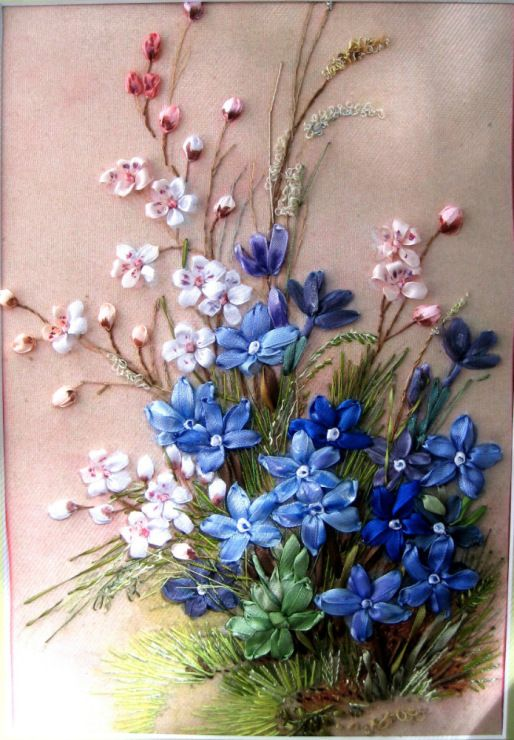 Violets and forget-me-nots #ribbonEmbroidery