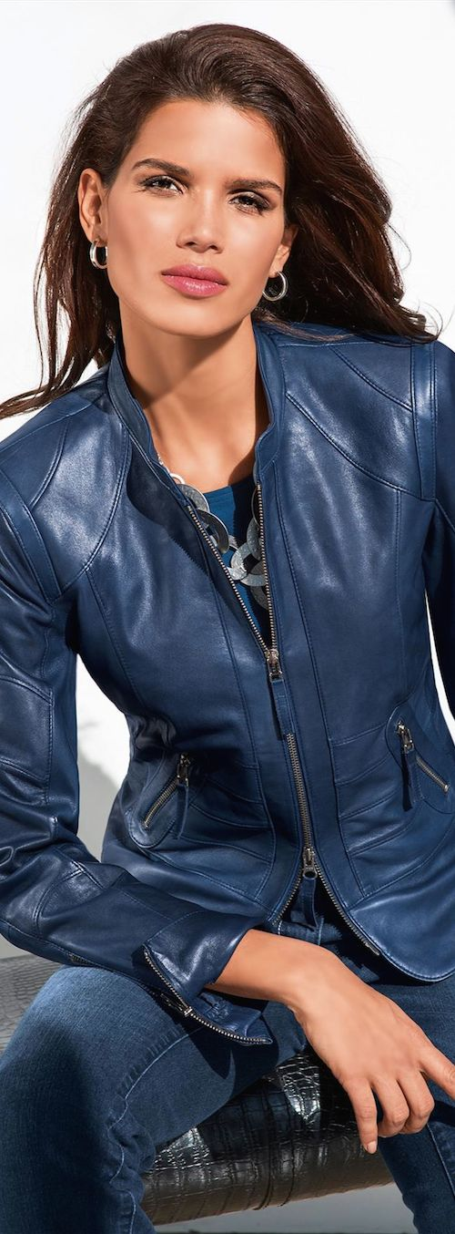 Madeleine Fall 2014 ● Madeleine Leather Jacket in Blue.           J
