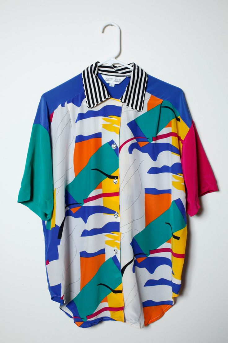 Vintage 80s/90s Funky Fresh Print Silk Button Up Saved By the Bell Vibe Short Sleeve Shirt Unisex by LipstickDinosaur on Etsy
