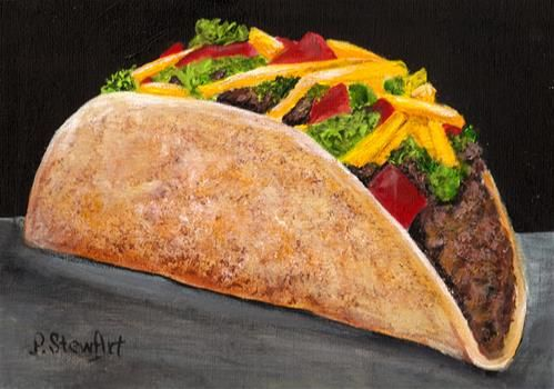 "Daily Paintworks - ""9x12 Acrylic Taco A La Cart Mexican Food Spanish Cuisine SFA Penny StewArt"" - Original Fine Art for Sale - © Penny Lee StewArt"