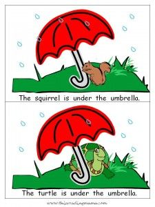 animals under the umbrella printable book.  Cut and place