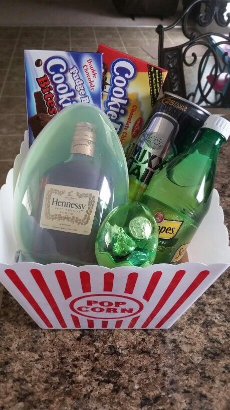 Easter basket for my fiancé. Except take away the candy and add scratch offs and jerky!
