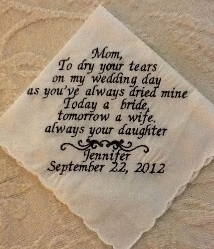 FOUR Handkerchiefs.....your choice... Mother of the Bride, Father, Mother in law, Personalized Embroidered Handkerchief