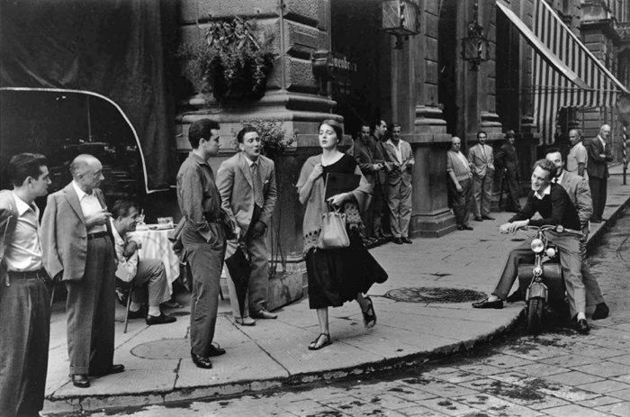 Ruth Orkin, An American Girl in Italy, 1951. I have seen this photo so many times but never realized it was by a woman photographer.