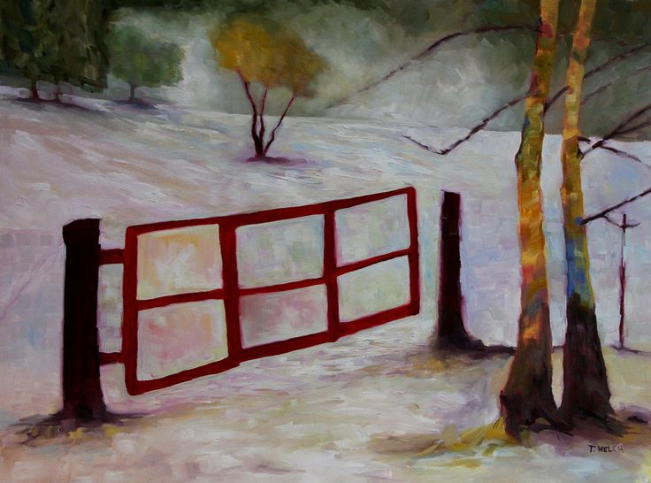 Red Gate 30 x 40 inch oil on canvas by Terrill Welch, a contemporary Canadian Landscape artist.