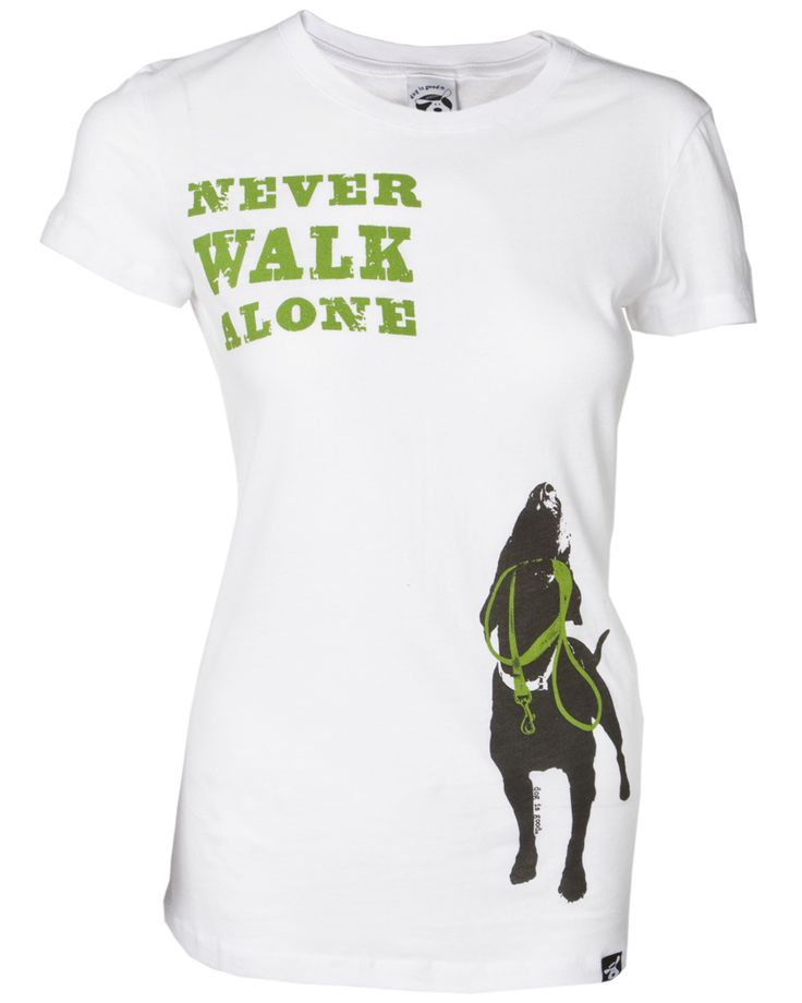 Share and get a code to save 10% storewide! Never Walk Alone Women's Fitted Tee Online! #dogisgood