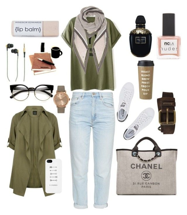 """""""At Campus"""" by raffaellapapami on Polyvore featuring MiH, adidas Originals, Chanel, Belstaff, Loro Piana, Alexander McQueen, ncLA, Kate Spade, Marc by Marc Jacobs and Kreafunk"""