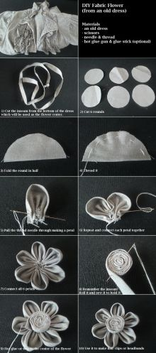 DIY Tutorial: Fabric Flowers / How to make a fabric flower for hair clips, brooches - Bead