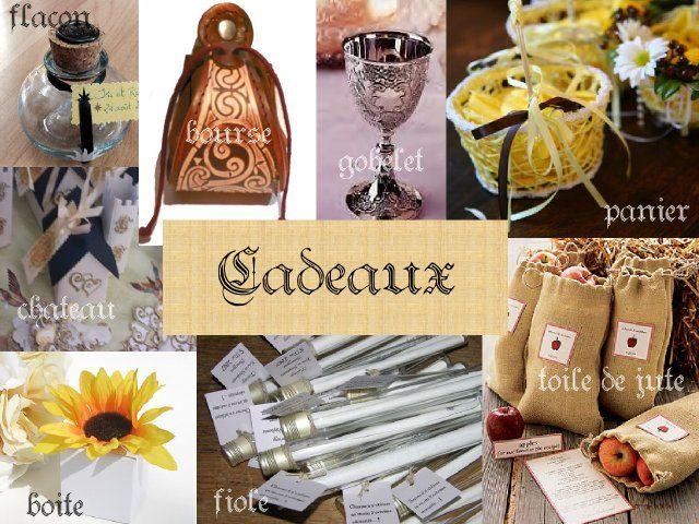 cadeaux invités bourse cuir flacon encrier en verre panier gobelet sac toile de jute fiole boîte tourne...