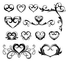 Coeur, ensemble de tatouages