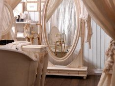 Oval Mirror And White Frame With Luxurious Sink Shadow For Washbasin In Luxurious Bathroom