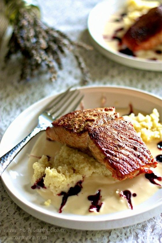 Wild caught salmon with beurre blanc sauce laced with blackberry ...