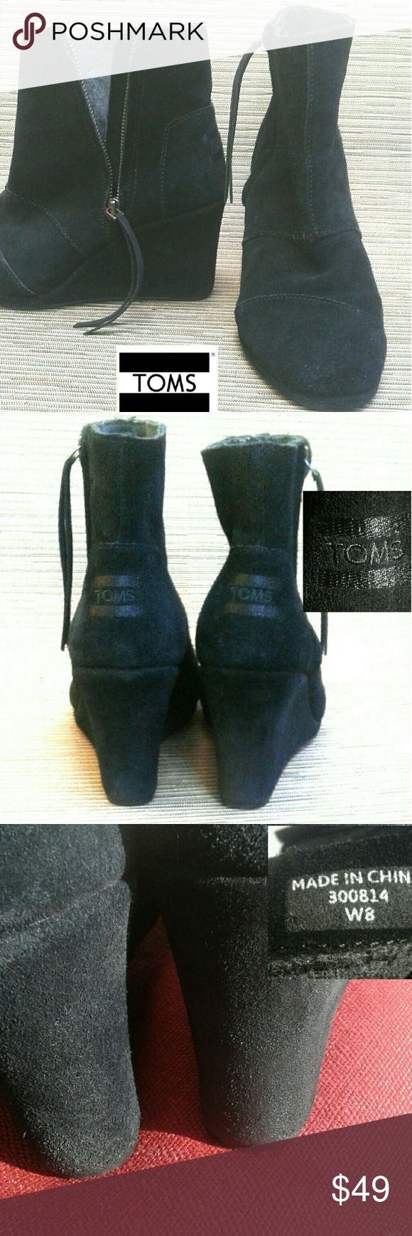 Toms desert black suede wedge boot W8 Very good used condition, w/no bare spots on suede.  -high ankle boot -rounded toe -side zipper w/tassle -customer rated true to size  ***size is 8 wide TOMS Shoes Ankle Boots & Booties