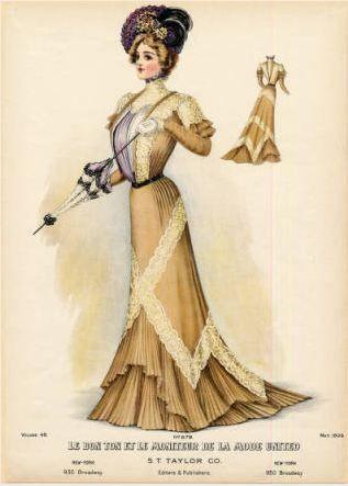 """""""Title American fashion, Spring 1899 Plate caption Le Bon Ton et le Moniteur de la Mode United Contributors S.T. Taylor Co. (editor and publisher)"""""""
