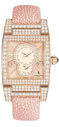 de Beers pink and white diamonds set in de Grisogono's Instrumentino S 20 Watch comes in polished 18ct pink gold set with white diamonds and pastel pink galuchat strap with a polished 18ct pink gold butterfly buckle.