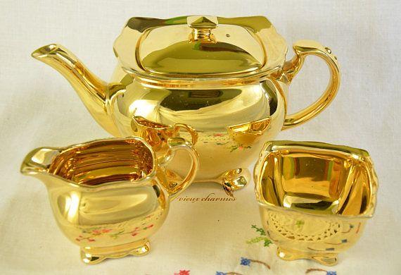 Royal Winton Grimwades tea set gold Royal Winton