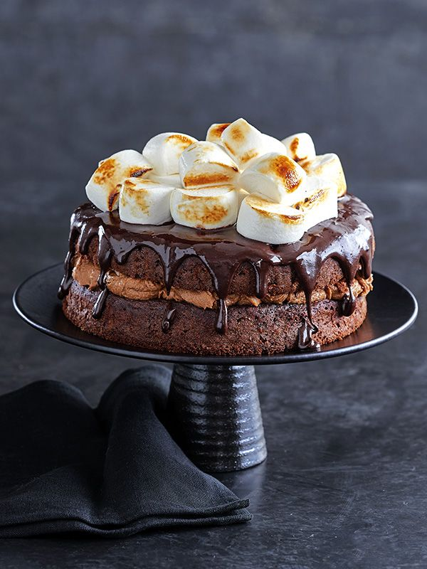 S'mores, bonfire-torched marshmallows sandwiched between biscuits with chocolate, are a classic in the US for a reason. This recipe mashes up all of those flavours into one seriously epic cake.