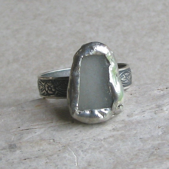 Genuine Sea Glass Ring Sea Glass Jewelry by AdroitJewelers on Etsy, $35.00Sea Glass
