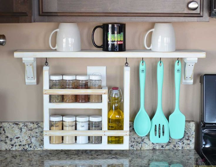 A backsplash shelf is a great way to organize your frequently used kitchen gadgets, while keeping your kitchen countertop clear from clutter.