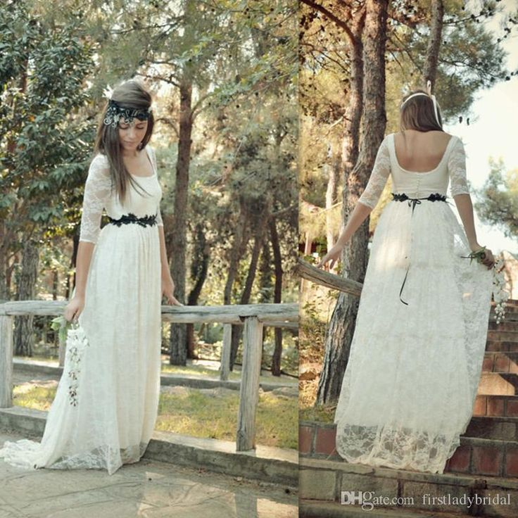 Hippie Wedding Dresses Ivory Lace A Line Scoop Neck Bridal Gowns With Half Sleeve Custom Made Country Dress For Brides Slim Line Wedding Dresses Taffeta Wedding Dresses From Firstladybridal, $86.18| Dhgate.Com