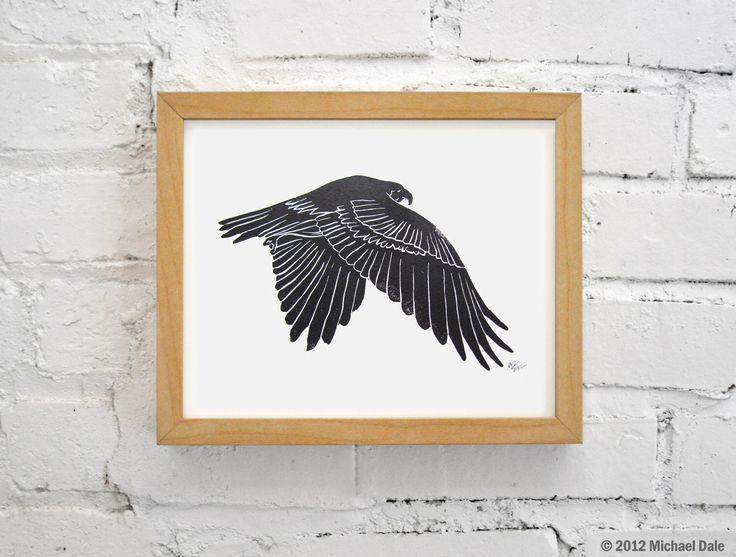 Linogravure - de faucon fauconnerie oiseau rouge queue Hawk par CoffeeInBed sur Etsy https://www.etsy.com/fr/listing/114499864/linogravure-de-faucon-fauconnerie-oiseau