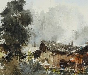 Plein air in  Miao Village 苗寨寫生 27 x 37cm, 2014