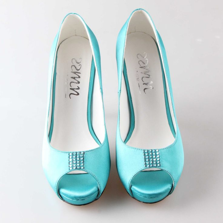 Handmade aqua blue turquoise wedding shoes rhinestone tie peep open toe woman bridal party prom dress shoes high heels platform