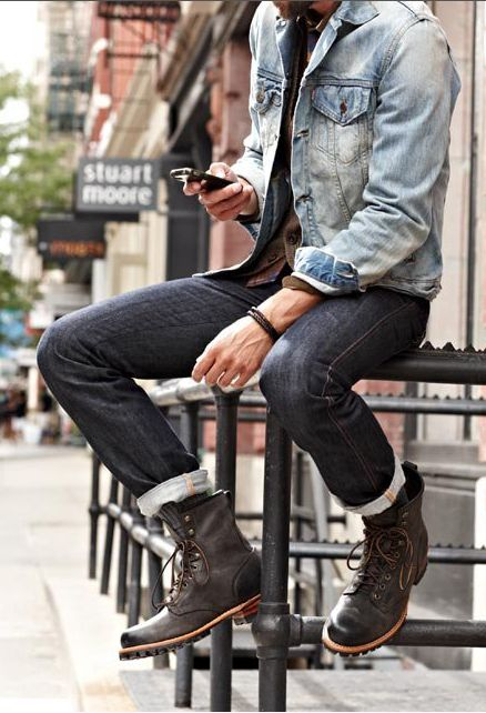 Logger Boots and roll-up jeans that fit properly is an awesome look. Vintage-inspired denim jacket adds to the appeal.