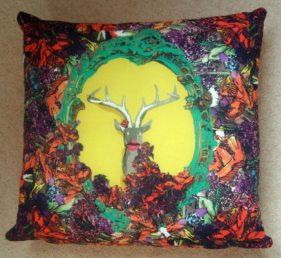 Illustrated digitally printed deer head by Holliemayselway on Etsy, £35.00