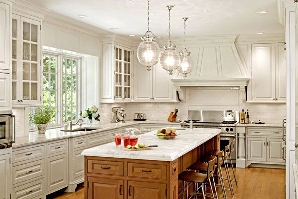 Pendant Lighting for Kitchen Island with white cabinets