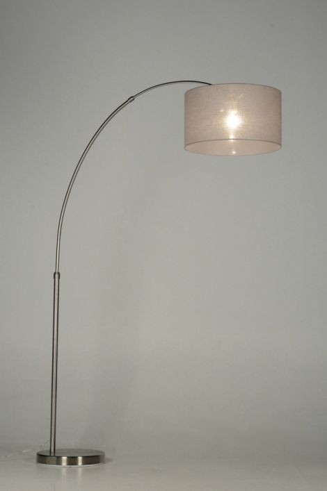 vloerlamp 30323: modern, klassiek, staal , rvs, stof, taupe, rond ... Rietveldlicht.nl € 219