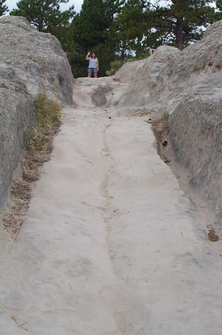 Wagon ruts on the oregon Trail in Wyoming