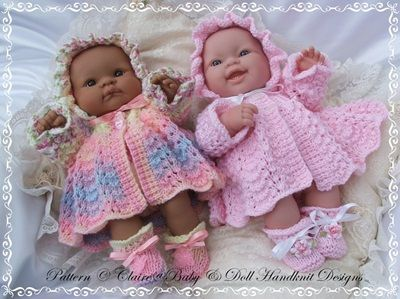 "Traditional Matinee Set for 14"" 'Lots to Love' Berenguer Doll-knitting pattern, lots to love, bathtime babies, berenguer, by Claire's Baby and Doll Handknit Designs"