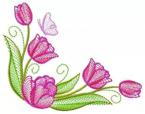 matriz bordado computadorizado flores tulipas  c058