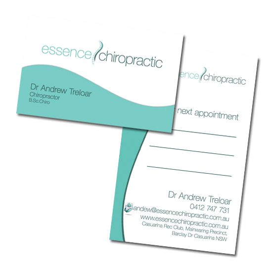 Essence Chiropractic Business Cards Design by www.concept-designs.com.au. For more designs visit our website.