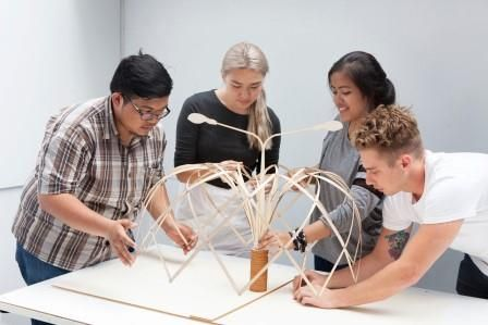 Architecture students from the University of Sydney and Bandung Institute of Technology finalise their design concept Bunga Bandung (translation: flower). Photo: Sarah Rhodes via University of Sydney