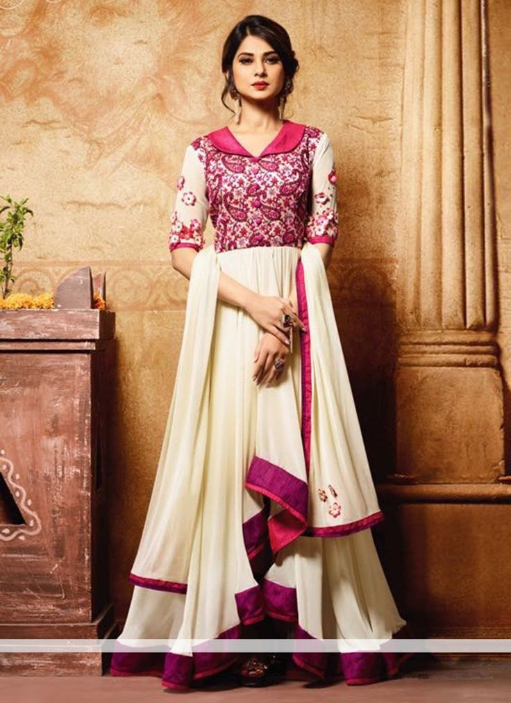 Buy Cream Bangalori Silk Georgette Designer Anarkali Suit Online