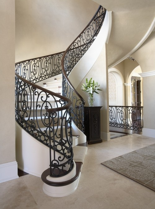 Traditional Staircase: Idea, Traditional Staircase, Stairs, Spirals Stairca, Stairca Design, Interiors Design, Wrought Iron, Stairways, Beauty Stairca