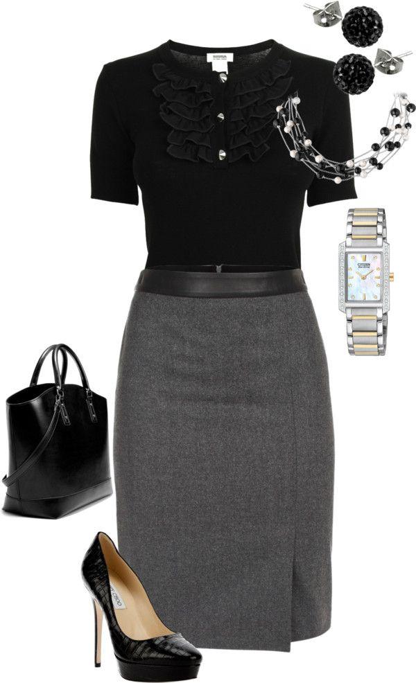 Black ruffle button collar & gray skirt. Black bag & heels.