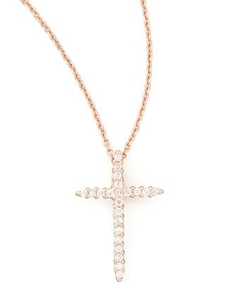 18k+Rose+Gold+Diamond+Cross+Necklace+by+Roberto+Coin+at+Neiman+Marcus.