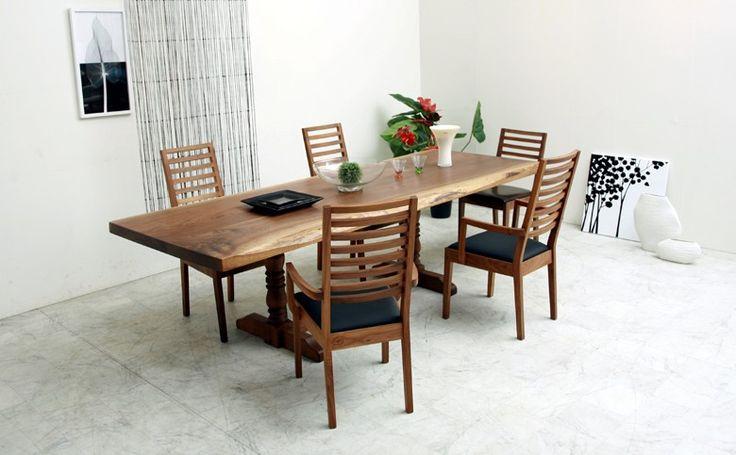 2.4mダイニングテーブル 銘木ウォールナット耳付き総無垢