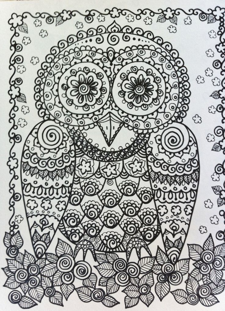 Advanced Coloring Pages Owls : Owl by chubby mermaid zentangle coloring pages colouring